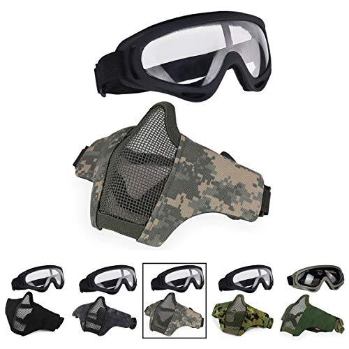 aoutacc Softair Half Face Mesh Mask und Brillen Set für CS/Jagd/Paintball/SHOOTING, ACU