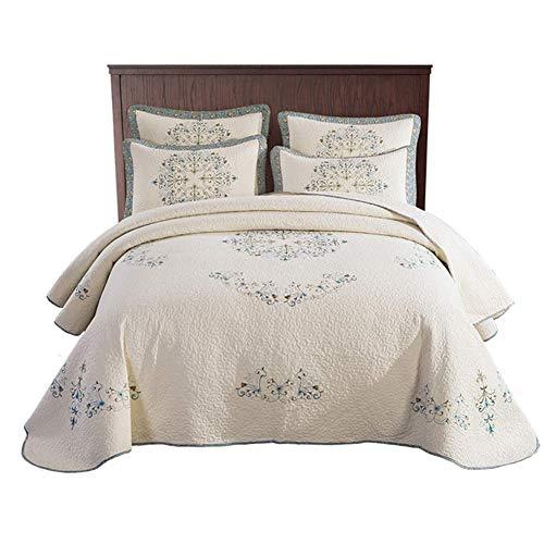 WDXN Vintage Stickerei Bettwäsche, Tagesdecke Aus Baumwolle Für Den Sommer, Steppdecke Für Die Ganze Saison, Überwurf Für Das Sofa 250 * 270cm
