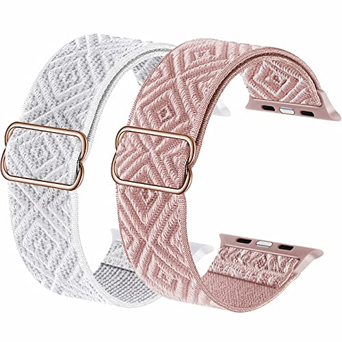 2-Pack ADWLOF Stretchy Solo Loop Strap Compatible with Apple Watch Bands 38mm 40mm,Diamond Sport Elastics Nylon Adjustable Stretch Braided for iWatch Series 6/5/4/3/2/1 SE Women Men,White&Pink