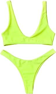 Swimsuit High Cut Cheeky Thong Bikini Scoop Neck Two Piece Bathing Suits for Women