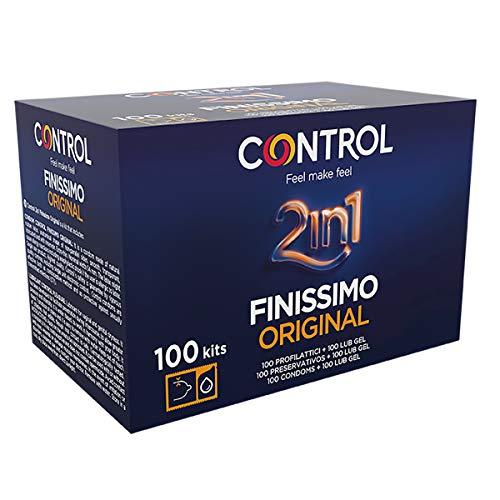 Control 2in1 Finissimo Preservativos - Caja de condones con dosis de lubricante - 100 unidades (pack extra grande)