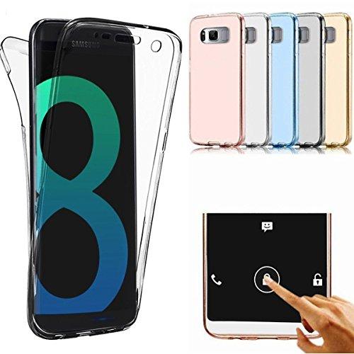 Samsung Galaxy S8 Plus Coque, Samsung Galaxy S8 Plus TPU Coque,Samsung Galaxy S8 Plus Double Faces Corps entier Silicone Housse,ETSUE Coque Silicone Gel Créativité Transparent 360 Degré Avant et arrière Ultra-mince Full Complet protéger Coque Étui Bumper Case Cover pour Samsung Galaxy S8 Plus + 1 x Bleu stylet + 1 x Bling poussière plug (couleurs aléatoires) - Gris Foncé