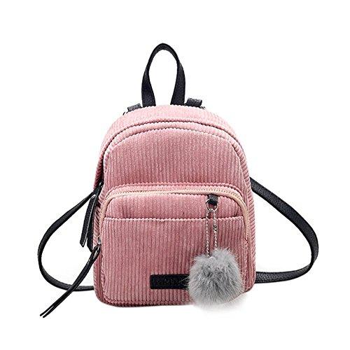 Ahomi kleiner Mini Mädchen Winter Samt Rucksack Frauen Fell Ball Schulranzen Schultertasche, Pink - rose - Größe: Small