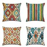 JOTOM Orientische Kissenbezüge 45 x 45 cm Mandala Kissenhülle Geometrisches Muster Sofa Deko Kissen Bezug für Zuhause Couch Outdoor Deko 4er Set (Bunter Muster)