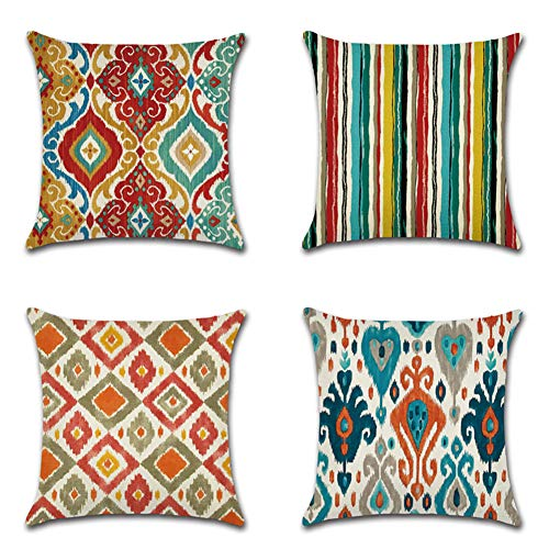 JOTOM Orientische Kissenbezüge 45 x 45 cm Baumwolle Leinen Mandala Kissenhülle Geometrisches Muster Sofa Deko Kissen Bezug für Zuhause Couch Outdoor Deko 4er Set (Bunter Muster)