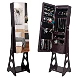 Jewelry Cabinet with Full-Length Mirror, Large Storage Armoire Standing Makeup Lockable Organizer (3-Layer / Dark Brown)