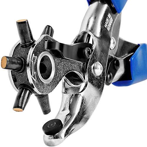 S&R OVALE Revolverlochzange/MADE IN GERMANY/PROFI mit Hebel-Übersetzung und 6 LANG und QUER auswechselbaren OVALEN Lochpfeifen: 5,7 x 3,8 mm, 4,6 x 3,0 mm, 6,3 x 3,5 mm Lochzange Oval Stanzzange