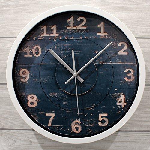 Creative Light- Horloge murale en bois gravé de 12 pouces Horloge murale rond rétro