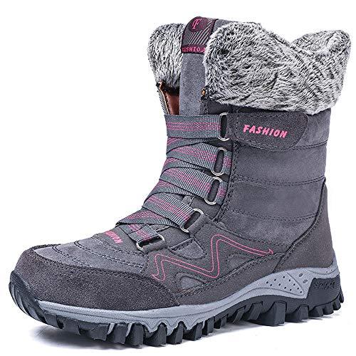 Botas Nieve Mujer Otoño Invierno Calentar Piel Forro Botines Retro Snow Boots Cordones Zapatillas Planas