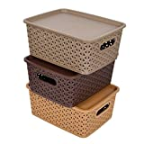 Material: Plastic, Color: Multi Package Contents: 3 Pieces Small Size Multipurpose Solitaire Storage Basket with Lid Size: 28 cm x 19 cm x 11 cm Package Contents: 3 Pieces Small Size Multipurpose Solitaire Storage Basket with Lid Material: Plastic, C...