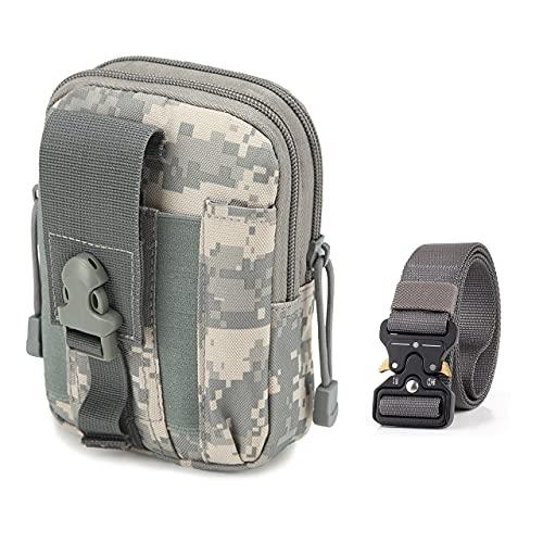 MISSFOX Riñonera Tactica Multifuncional Bolsa Cintura Hombre Bolso Riñonera Tactico Militar Compacta con Cinturon Tactico 1.5 Pulgadas para Escalada Senderismo Camping Deporte al Aire Libre