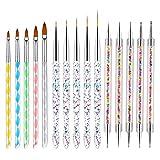 VEGCOO 15Pcs Pinceles Arte de Uñas, Pincel Acrilico Uñas y Plumas de Uñas, Nail Art Cepillo Pintura Punteado de Gel para Decoración de Uñas (B)