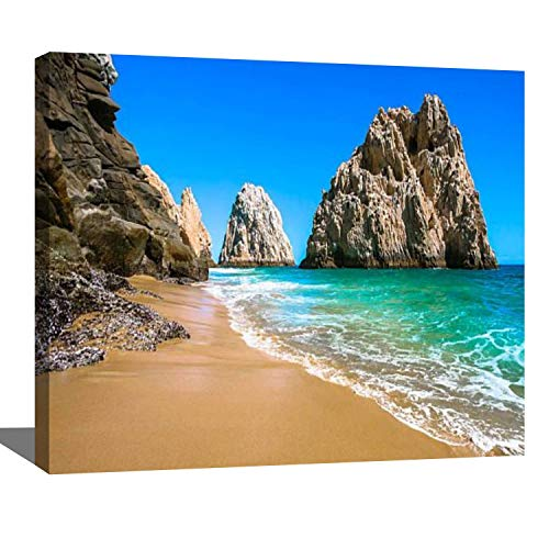 DIY Digital Oil Painting Set Rocky Beach in Cabo san Lucas Beach Scenery Stock Pictures Royalty Paint by Numbers Kits for Adult Beginner Children Wooden Frame Art Craft for Home Wall Decor-16x20'