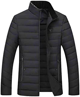 MU2M Men Zip Front Solid Casual Stand Collar Quilted Padded Down Parka Coat