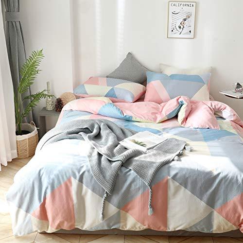 GETIYA - Juego de ropa de cama geométrica (135 x 200 cm, algodón, triángulo, para todas las estaciones, color azul, rosa y contraste, con funda de almohada de 80 x 80 cm)