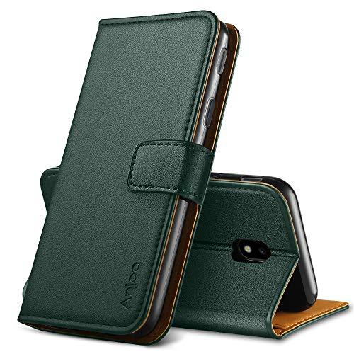 Anjoo Cover Compatibile per Samsung Galaxy J3 2017, Custodia Flip Premium Protettiva Portafoglio PU Pelle Cover Compatibile con Samsung Galaxy J3 2017 - Verde Scuro