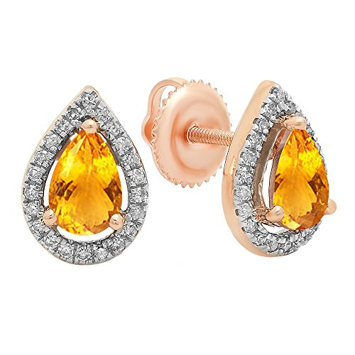 Dazzlingrock Collection 14K 6X4 MM Each Pear Citrine & Round Diamond Ladies Halo Teardrop Stud Earrings, Rose Gold