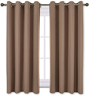 NICETOWN Insulated Blackout Curtains and Drapes - Microfiber Energy Saving Thermal Insulated Solid Grommet Blackout Draperies for Kitchen (1 Pair, 52 inches by 54 Inch, Cappuccino)