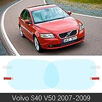 ボルボ S40 V50 2007 ? 2012 フルカバーアンチフォグフィルムバックミラー防雨クリア防曇フィルムカーアクセサリー 2008 2011-S40 V50 2007-2009