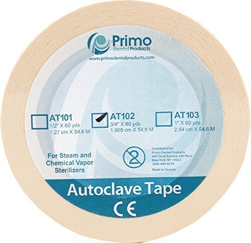 "Primo Dental Products AT101 Autoclave Sterilization Indicator Tape, 1/2"", 60 yd"
