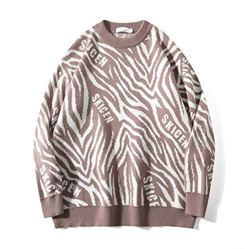 BeiBaby Men's Knitted Pullover Sweater Zebra Stripe Pattern Cashmere Wool Fleece Oversize Knitwear Jumper