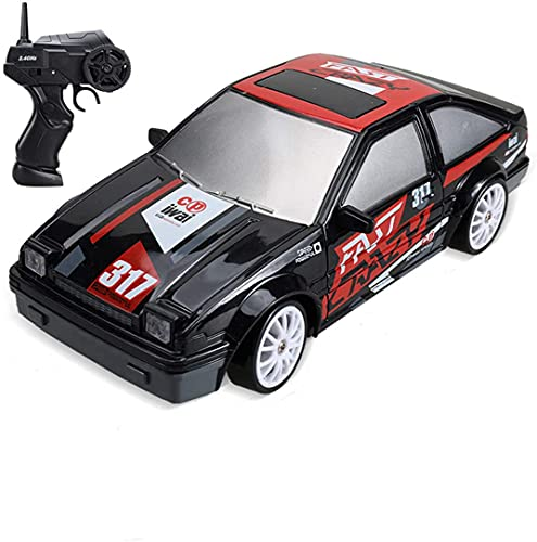 RC Drift Car, 1/24 2.4G Remote Control Car, 4WD 15KM/H High Speed Electric Race Car Toy with LED Light, Battery and Drift Tires