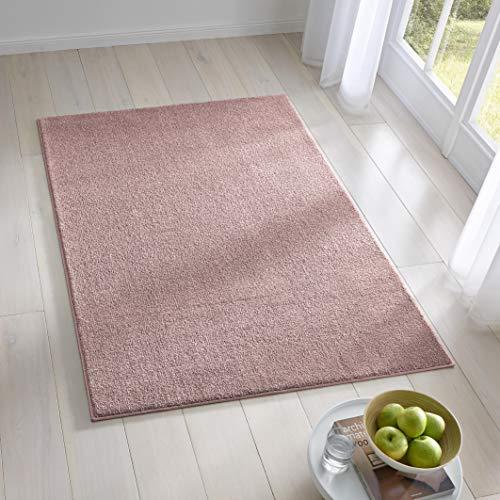 Teppich Wölkchen Kurzflor Teppich I Flauschige Flachflor Teppiche fürs Wohnzimmer, Esszimmer, Schlafzimmer oder Kinderzimmer I Einfarbig I Rosa - 120 x 170