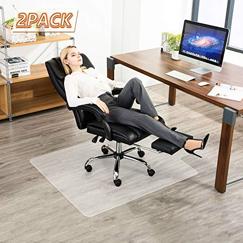 Tiled-Packaging-Chair-Mat-for-Floor, YOUKADA 2 Pack Chair Mat for Hard Floor, Office Chair Mat for Hard Floor, Desk Chair Mat, Hard-Floor Protector with Lip, 86 x 109 cm/34 x 43 inches