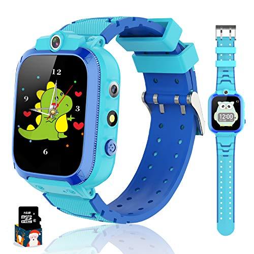 Reloj Inteligente para Niños con y Reproductor de MP3, Smartwatch Niños con Doble Cámara, 14 Juegos, Podómetro, Reloj Despertador, Linterna de Cumpleaños, para Niños y Niñas de 3 a 12 años (Azul)