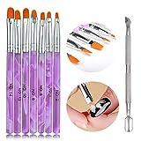 Ealicere 7 pièces Ensemble de pinceaux à ongles,pinceau nail art pour gel UV et acrylique