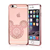 DECO FAIRY Compatible with iPhone 8 / 7, Rose Gold Shiny Mouse Inspired Mandala Zen Tangle Cartoon Pattern Rubber Slim Fit Silicone TPU Case Cover