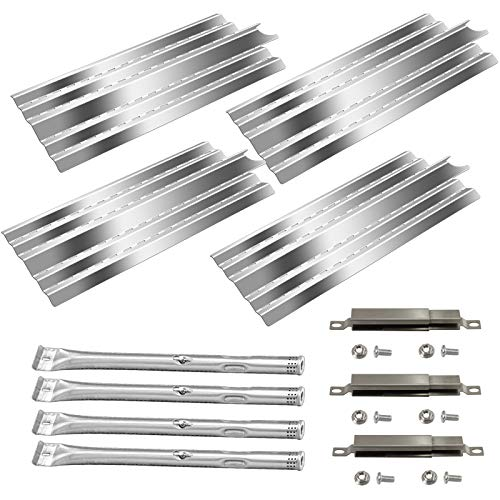 Zemibi Grill Replacement Parts for Kenmore Gas Grill Models 415.23666310, 415.23667310, 4 Pack Grill Heat Plate, Heat Cover, Burner Cover and 4 pack Stainless Steel Burner Tube, BBQ Repair Kit, Sliver
