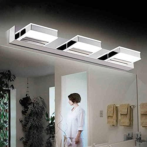 Chrome Wall Vanity Lights Ajuste, 3-ligero Acero inoxidable Sconence, espejo de shade de acrílico Lámpara delantera, lámparas de montaje en la pared de tocador para la iluminación de la imagen del ves