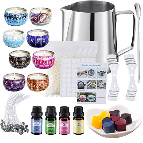 DIY Kerzenherstellung Zubehör einschließlich Soja Wachs Wick Halter Farbstoffe Kapazität Jug Rührlöffel Luxurious Candle Kit Machen
