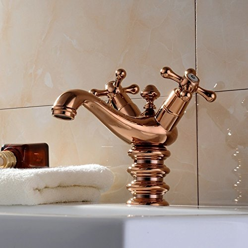 XDYNJYNL Kitchen Tap European Antique Copper Faucet Double Single Hole Hot and Cold Rose Gold Creative Honey Shape Sink Spray Brass Mixer Tap Vessel Faucet