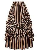 Belle Poque Women Vintage Striped Victorian Skirt Renaissance Costume - yellow - Medium