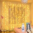 Cortina de luces LED, GLURIZ 3 * 3M 300LED Luz led, Lámpara lluminación de decoración para ventanas, fiestas, bodas y navidad (Blanco Cálido)