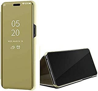 Clear View Mirror Stand Cover for Samsung Galaxy M62 - Gold