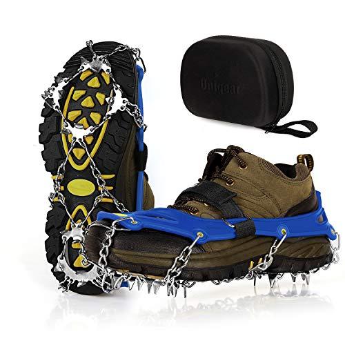 Unigear Steigeisen für Bergschuhe, mit 19 Zähnen, Grödel, Schuhkrallen, Eisspikes, Schneekette, Spikes für Schuhe Winter Outdoor