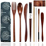 Wooden Cutlery Set Portable, Reusable Wooden Bamboo Utensils Travel Cutlery Utensils Set with Case, 9 Pcs Wooden Flatware Including Reusable Knife Fork Spoon Chopsticks Straws & Cleaning Brush