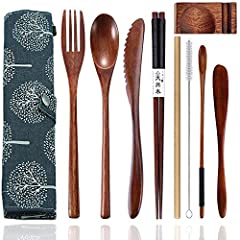 ✿ The 9-Piece Portable Wooden Silverware Set: Comes with 1 wooden Dinner Fork, 1 wooden Tablespoon, 1 wooden Knife, 1 Pair wooden Chopsticks, 1 Cleaning Brush, 1 Bamboo Straw, 1 Butter Knife and 1 Carrying Pouch. Great for get-together, office lunche...