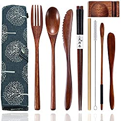 powerful Wooden cutlery set Portable and reusable wooden bamboo tableware Travel cutlery set …