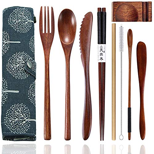 Cennsa Wooden Silverware Set, Reusable Wooden Bamboo Utensils Travel Cutlery Lunch Utensils Set with Case, 9 Pcs Wooden Flatware Including...