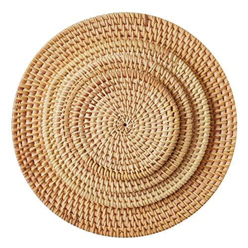Sobotoo - Manteles individuales redondos de tejido para mesa de comedor, antideslizante, resistentes al calor, manteles individuales para mesa, posavasos, ollas, sartenes y teteras, plastico, 20 cm