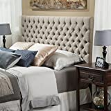 Jezebel Tufted Fabric Headboard, Queen/Full, Sand