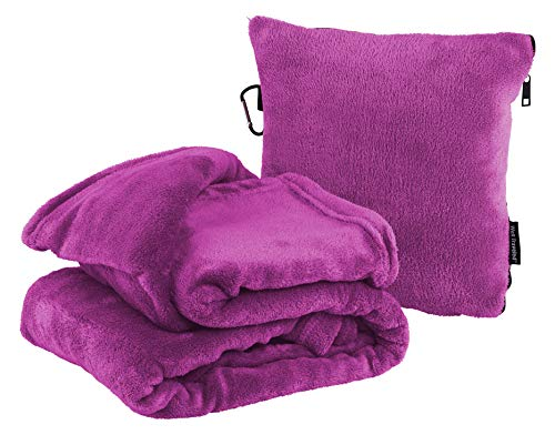 Well-Traveled 2 in 1 Travel Blanket with Carry Case Pillow – Warm Fleece Blanket - Airplane Plush Neck Pillow for Sleeping Throw – Lightweight & Durable Blanket Travel Pillow - Magenta