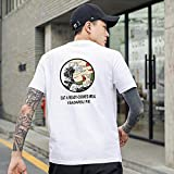 JKCTOPHOME Camiseta cómoda de Tela Absorbente de Sudor para Hombre,Camiseta Holgada de Manga Corta de algodón para Hombre-White_3XL #,Camiseta versión Simple