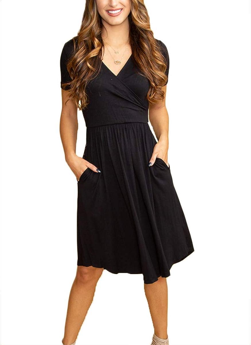 Women's Summer Classic MIDI Casual V Neck Pocket Short Sleeve Crossover Party Work Black Wrap Wrinkles Dress