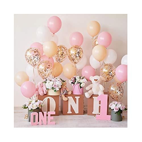 Miueapera Fondo para primera tarta de 3 x 3 m para niñas, primer cumpleaños, primer cumpleaños, fondo para fotografía de bebé, globos de fotos