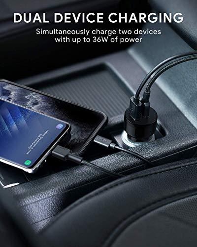 AUKEY Autoladegerät USB C, Ultra KOMPAKT 36W (12V/3A) Dual USB C Zigarettenanzünder mit AiPower Technologie für iPhone 11 Pro Max XS XR X 8, iPad Air/Pro/Mini, HTC, LG und andere Geräte (Schwarz)